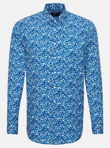 Seidensticker Poplin Floral Fantasy Shirt Turquoise
