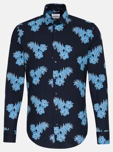 Seidensticker Poplin Floral Leaf Shirt Turquoise