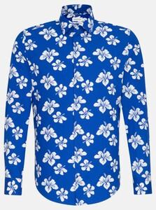 Seidensticker Poplin Large Floral Pattern Overhemd Sky Blue Melange