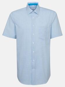 Seidensticker Poplin Micro Check Overhemd Turquoise