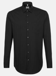 Seidensticker Poplin Non Iron Business Kent Overhemd Zwart
