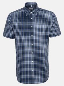 Seidensticker Poplin Short Sleeve Check Overhemd Sky Blue Melange