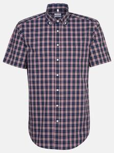 Seidensticker Poplin Short Sleeve Comfort Check Overhemd Rode Wijn