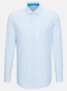 Seidensticker Poplin Stripe Business Kent Overhemd Turquoise