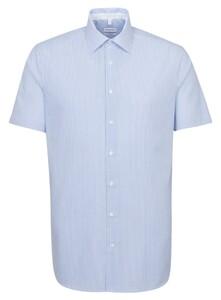 Seidensticker Poplin Stripe Business Kent Shirt Deep Intense Blue