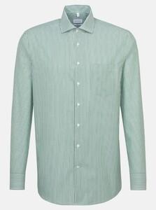 Seidensticker Poplin Stripe Spread Kent Overhemd Groen