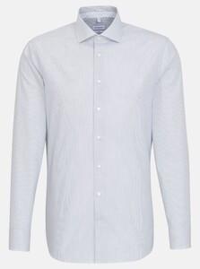 Seidensticker Poplin Stripe Spread Kent Overhemd Navy