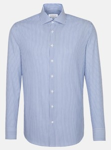 Seidensticker Poplin Striped Non Iron Overhemd Sky Blue Melange