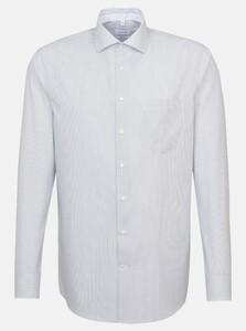 Seidensticker Poplin Striped Spread Kent Overhemd Navy