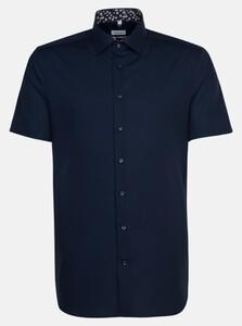 Seidensticker Poplin Uni Contrast Overhemd Navy