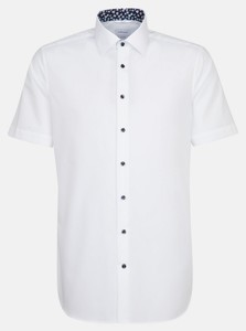 Seidensticker Poplin Uni Contrast Overhemd Wit