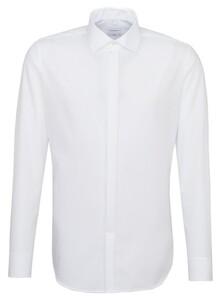 Seidensticker Poplin Uni Dubbele Manchet Overhemd Wit