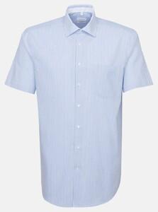 Seidensticker Short Sleeve Striped Poplin Shirt Deep Intense Blue