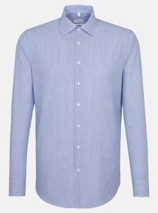 Seidensticker Slim Poplin Striped Shirt Sky Blue Melange