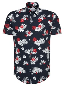 Seidensticker Slim Short Sleeve Fantasy Overhemd Rode Wijn