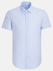 Seidensticker Slim Short Sleeve Kent Overhemd Pastel Blauw