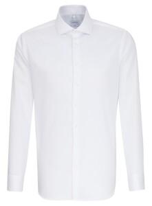 Seidensticker Spread Kent Uni Twill Overhemd Wit