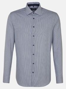 Seidensticker Striped Twill Business Kent Overhemd Navy