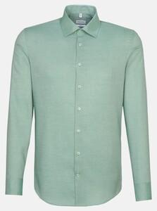 Seidensticker Structure Faux Uni Overhemd Groen