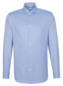 Seidensticker Structured Uni Light Spread Kent Shirt Deep Intense Blue