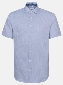 Seidensticker Twill Stripe Short Sleeve Overhemd Sky Blue Melange