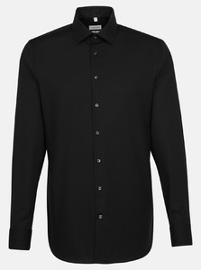 Seidensticker Uni Poplin Contrast Overhemd Zwart