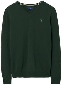 Gant Super Fine Lambswool V-Neck Tartan Green Melange