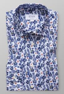 Eton Contemporary Fit Floral Print Diep Blauw