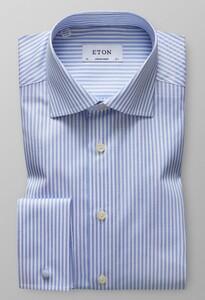 Eton Striped Signature Twill Licht Blauw