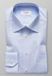 Eton Mini Check Embroidery Licht Blauw