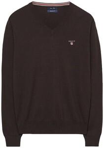Gant Cotton Wool V-Neck Donker Bruin