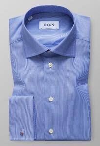 Eton Twill French Cuff Diep Blauw