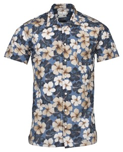 Thomas Maine Ancona Short Sleeve Flowers Overhemd Navy-Blauw