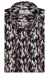 Thomas Maine Bari Cutaway Fluid Fantasy Overhemd Bruin-Zwart
