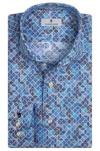 Thomas Maine Bari Cutaway Tiles Fantasy Pattern by Texta Overhemd Cobalt Blue