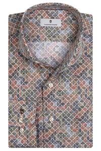 Thomas Maine Bari Cutaway Tiles Fantasy Pattern by Texta Overhemd Olijf Groen