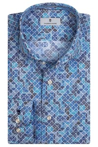Thomas Maine Bari Cutaway Tiles Fantasy Pattern by Texta Shirt Cobalt Blue