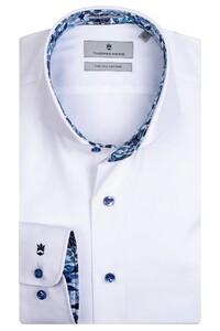 Thomas Maine Bari Cutaway Two Ply Twill Bold Contrast Overhemd Wit-Blauw
