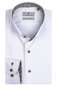 Thomas Maine Bari Cutaway Two Ply Twill Bold Contrast Overhemd Wit-Groen