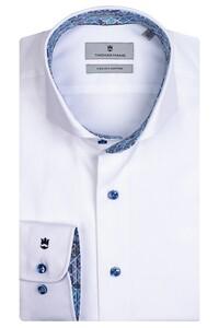 Thomas Maine Bari Cutaway Two Ply Twill Bold Contrast Overhemd Wit-Kobalt