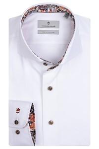 Thomas Maine Bari Cutaway Two Ply Twill Bold Contrast Shirt White-Bordeaux