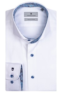 Thomas Maine Bari Cutaway Two Ply Twill Bold Contrast Shirt White-Cobalt