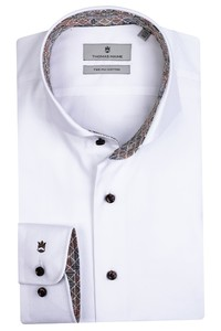 Thomas Maine Bari Cutaway Two Ply Twill Bold Contrast Shirt White-Olive