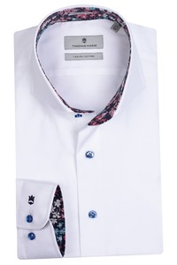 Thomas Maine Bari Cutaway Two Ply Twill Bold Contrast Shirt White-Pink
