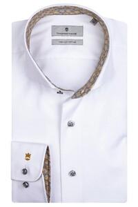 Thomas Maine Bari Cutaway Two Ply Twill Bold Contrast Shirt White-Yellow