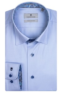 Thomas Maine Bergamo Hidden Button Down Two Ply Twill Uni Bold Contrast Overhemd Blauw-Kobalt