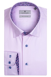 Thomas Maine Bergamo Hidden Button Down Two Ply Twill Uni Bold Contrast Overhemd Roze-Cyclaam