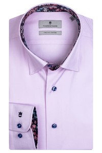 Thomas Maine Bergamo Hidden Button Down Two Ply Twill Uni Bold Contrast Overhemd Roze