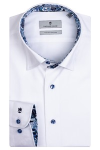 Thomas Maine Bergamo Hidden Button Down Two Ply Twill Uni Bold Contrast Overhemd Wit-Blauw