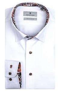 Thomas Maine Bergamo Hidden Button Down Two Ply Twill Uni Bold Contrast Overhemd Wit-Bordeaux